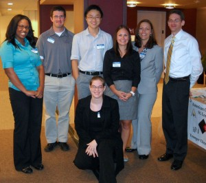 From left to right: Melanie Gray, Benjamin Barth, Bo Bi, Natalie LaFranzo, Kathleen Chaffee, Eric Bruton. Front: Kathleen McGee