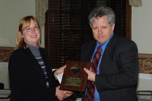 Keith Stine receives Distinguished Service Award from Shelley Minteer