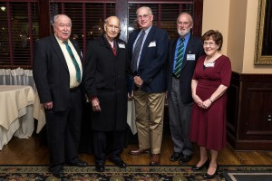 Photo of the 50- and 60-year members taken at the 2015 Recognition Night dinner: (left to right): Ben Outlaw, Avrom Ringel Handleman, John Rapko, Derek Redmore, and Esther Plowman