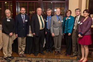 STLACS past and present chairs: (left to right) Donna Friedman, Jeff Cornelius, Ben Outlaw, Keith Stine, Hal Harris, Leah O'Brien, Jim O'Brien, and Pegah Jalili