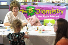 Sheryl Loux instructs how to do the Enzymes Aid in Digestion and Cleaning experiments at Kids and Chemistry at the Saint Louis Science Center for Chemists Celebrate Earth Day on 4/18/15.