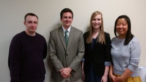 Award recipients at the 2015 Undergraduate Research Symposium, from left to right: Dallas Wright (SIUE, 2nd place), Andrew McLaughlin (SLU, 1st place), Katlyn Hausman (SIUE, 3rd place), Charlene Yu (SIUE, 4th place)